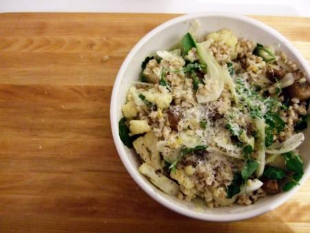Lemony Barley Salad with Caramelized Cauliflower, Roasted Mushrooms, and Shaved Fennel