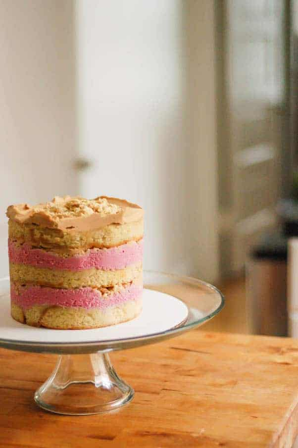 Brown Butter Cake with Cranberry Curd, Orange Cardamom Crumbs, and Biscoff Frosting (a la Momofuku Milk Bar)