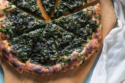 Spicy Garlicky Spinach Pizza from Blossom to Stem | www.blossomtostem.net