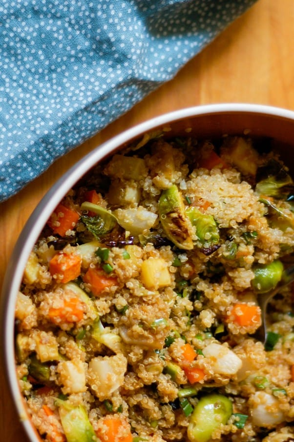 Ginger Scallion Quinoa with Roasted Vegetables.This ginger scallion vinaigrette is awesome. From Blossom To Stem | Because Delicious www.blossomtostem.net