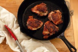 Crispy Mustardy Pan-fried Chicken Thighs. Everything I want in a chicken dinner. From Blossom To Stem | Because Delicious www.blossomtostem.net