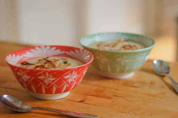 Roasted Cauliflower Soup with Balsamic-Glazed Shallots