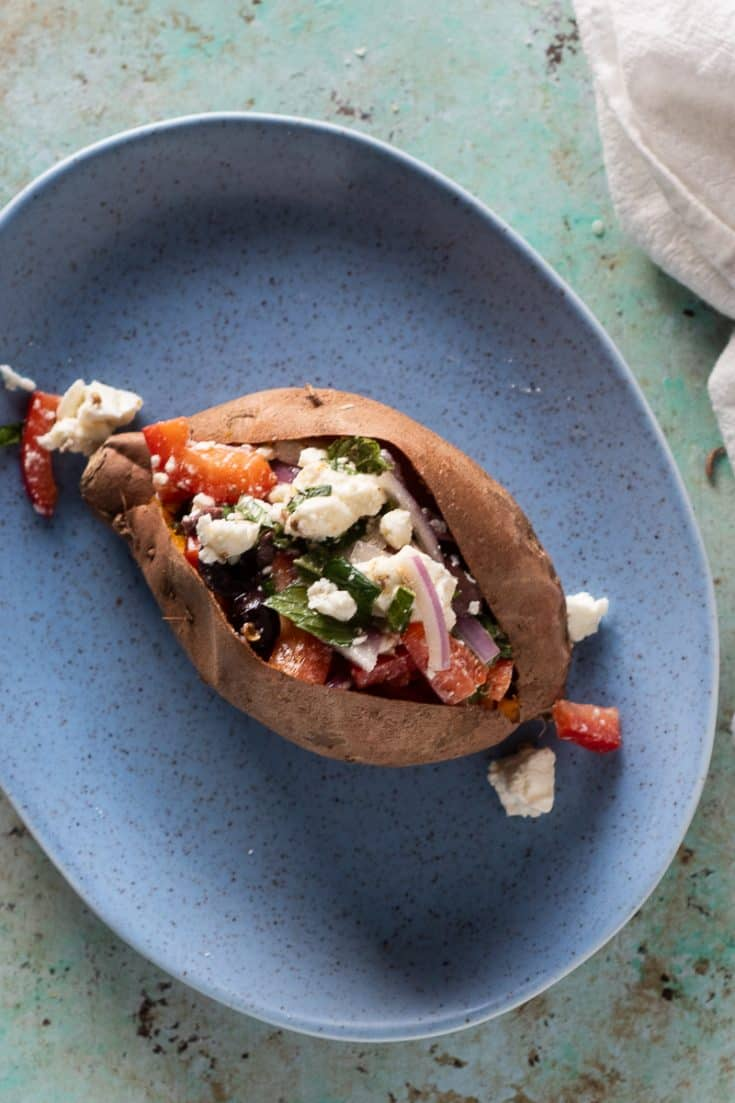 Baked Sweet Potatoes with Marinated Feta, Olives, and Red Peppers