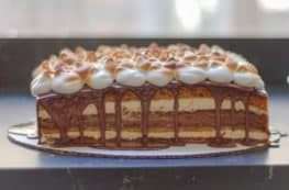 S'Mores Cake with Toaste Marshmallow Meringue Frosting. A S'mores Cake with Graham Cracker Cake, Marshmallow Mousse, Bittersweet Chocolate Ganache, and Toasted Marshmallow Meringue Frosting. From Blossom To Stem | Because Delicious www.blossomtostem.net