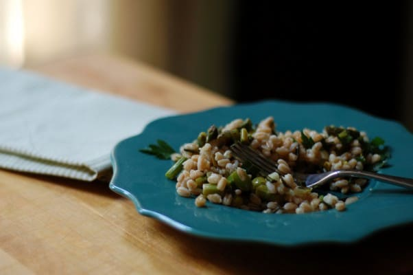 Asparagus and Spring Onion Farro Salad with Quick Preserved Lemon Vinaigrette. From Blossom To Stem | Because Delicious www.blossomtostem.net