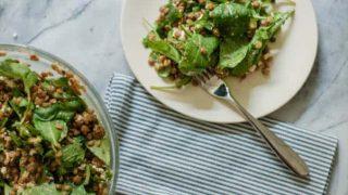 Lentil Arugula Salad with Feta and Red Wine Shallot Vinaigrette