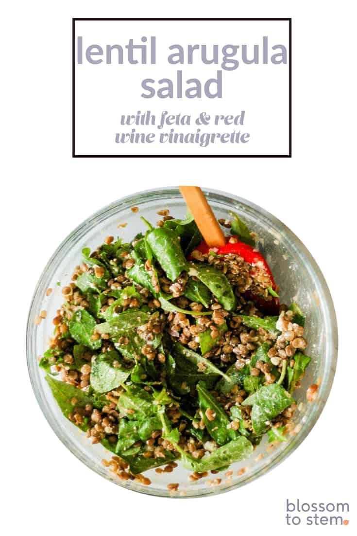 Lentil Arugula Salad with Feta and Red Wine Vinaigrette