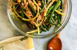 Spicy Summer Bean and Chickpea Salad. A crisp, light salad with yellow and green beans and chickpeas tossed in a kicky vinaigrette. From Blossom to Stem | Because Delicious www.blossomtostem.net