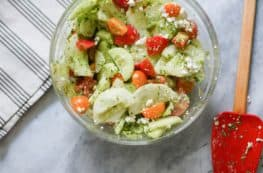 Tomato and Cucumber Salad with Basil Vinaigrette. My salad of the summer! From Blossom to Stem | Because Delicious www.blossomtostem.net