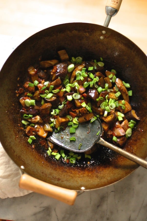 Sichuan Eggplant with Bacon. A wonderful Chinese stirfry with eggplant and Sichuan chili bean paste. One of my favorite ways to eat eggplant. From Blossom to Stem | Because Delicious www.blossomtostem.net