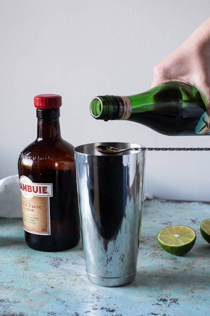 Pouring Fernet into a barspoon