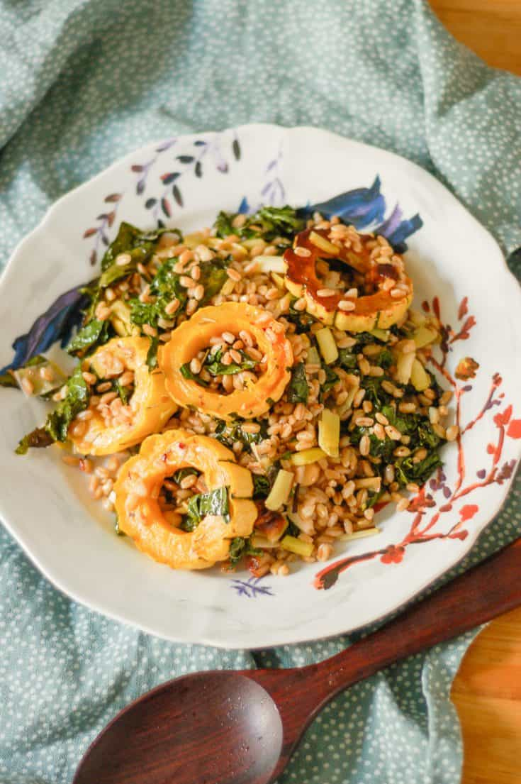 Roasted Delicata Squash with Farro Leeks and Kale