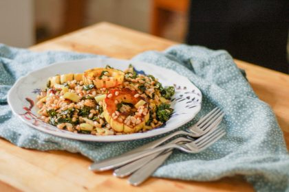 Roasted Delicata Squash with Farro Leeks and Kale