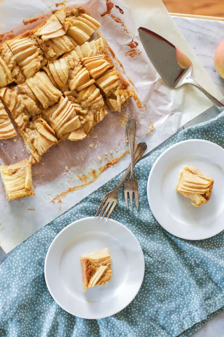 Brown Butter Apple Bars, sliced, with two bars on plates