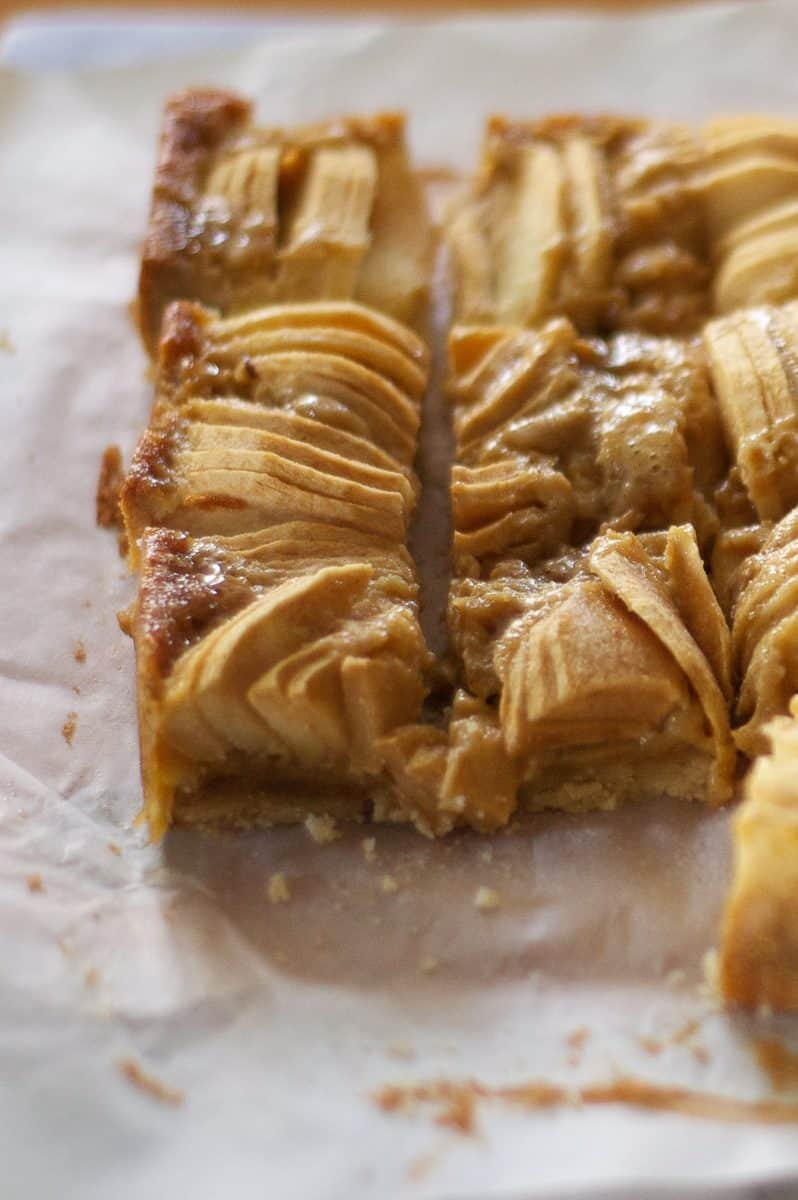 Brown Butter Apple Bars, sliced close up