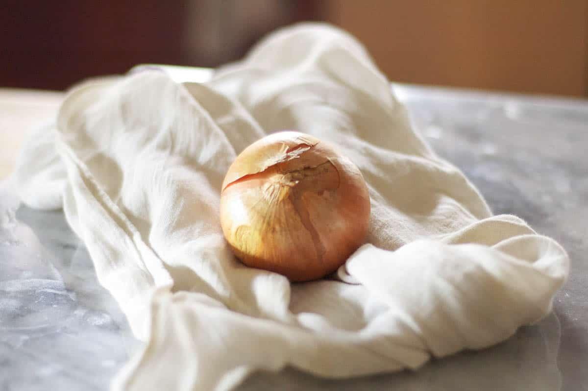 Onion on a towel
