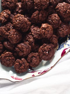 Salted Chocolate Rye Cookies on a platter