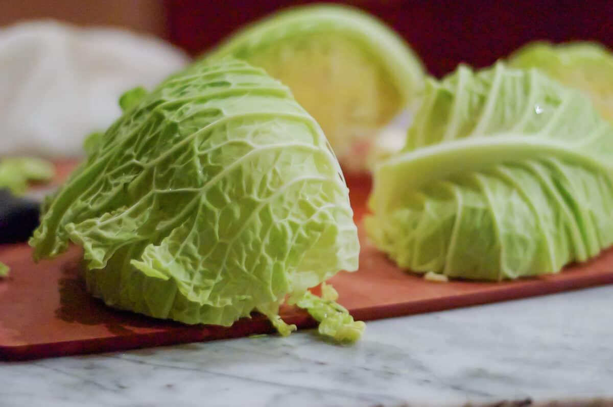 Slice savoy cabbage