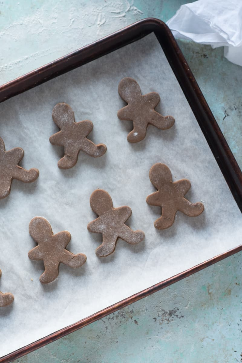 Soft Gingerbread Cookies on a baking sheet, unbaked