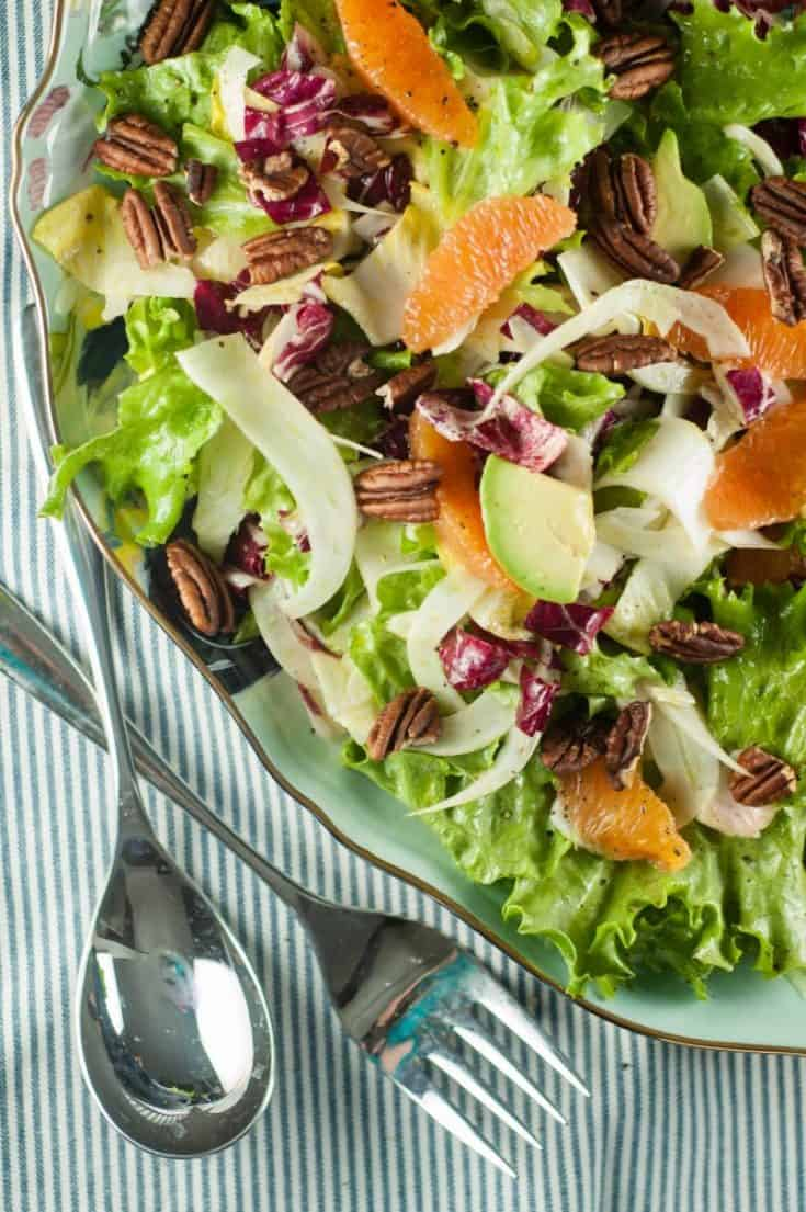 Cara Cara Orange and Avocado Salad with Mixed Chicories