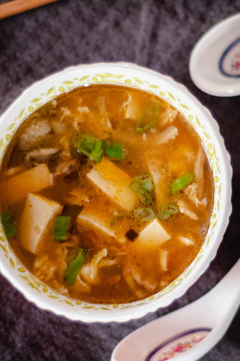 Hot and Sour Soup overhead, closeup