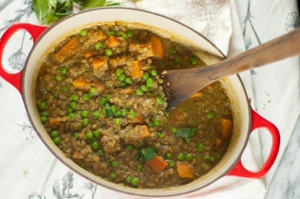 Sweet Potato, Red Lentil, and Green Pea Curry. A simple, warming Indian dish. Perfect for cold days. From Blossom to Stem | Because Delicious www.blossomtostem.net #glutenfree #vegetarian #vegan