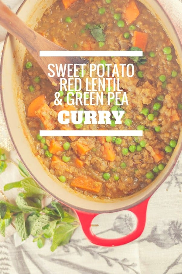 Sweet Potato, Red Lentil, and Green Pea Curry. A simple dish with Indian flavors perfect for a weeknight. Vegan, gluten free. Blossom to Stem | www.blossomtostem.net