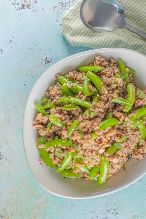Sugar Snap Pea and Cashew Quinoa Bowl. A light summery grain salad with a Vietnamese-inspired fish sauce lime vinaigrette. From Blossom to Stem | Because Delicious