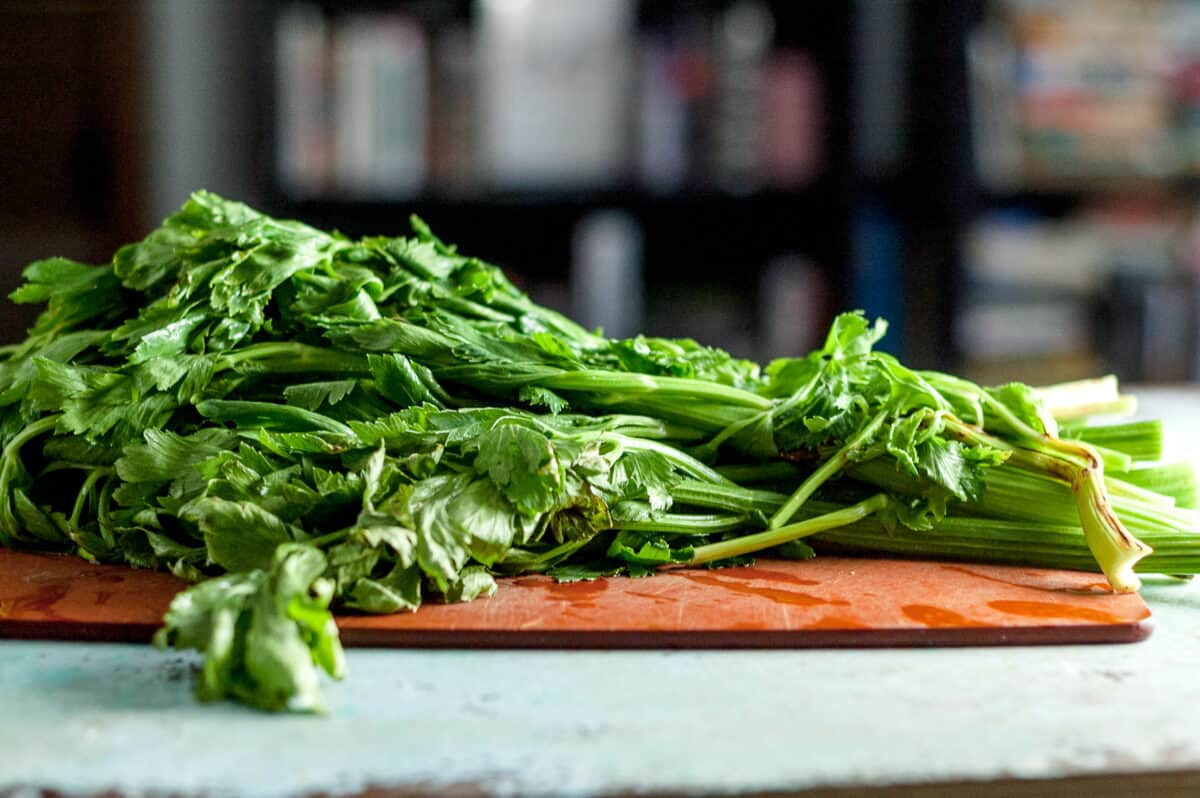 Celery on a cutting board