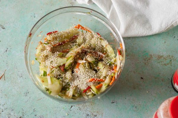 Cucumber Kimchi. Cold, crunchy, funky delicious. A fresher, quicker kimchi than the more famous cabbage version. Gluten free, dairy free. From Blossom to Stem   www.blossomtostem.net