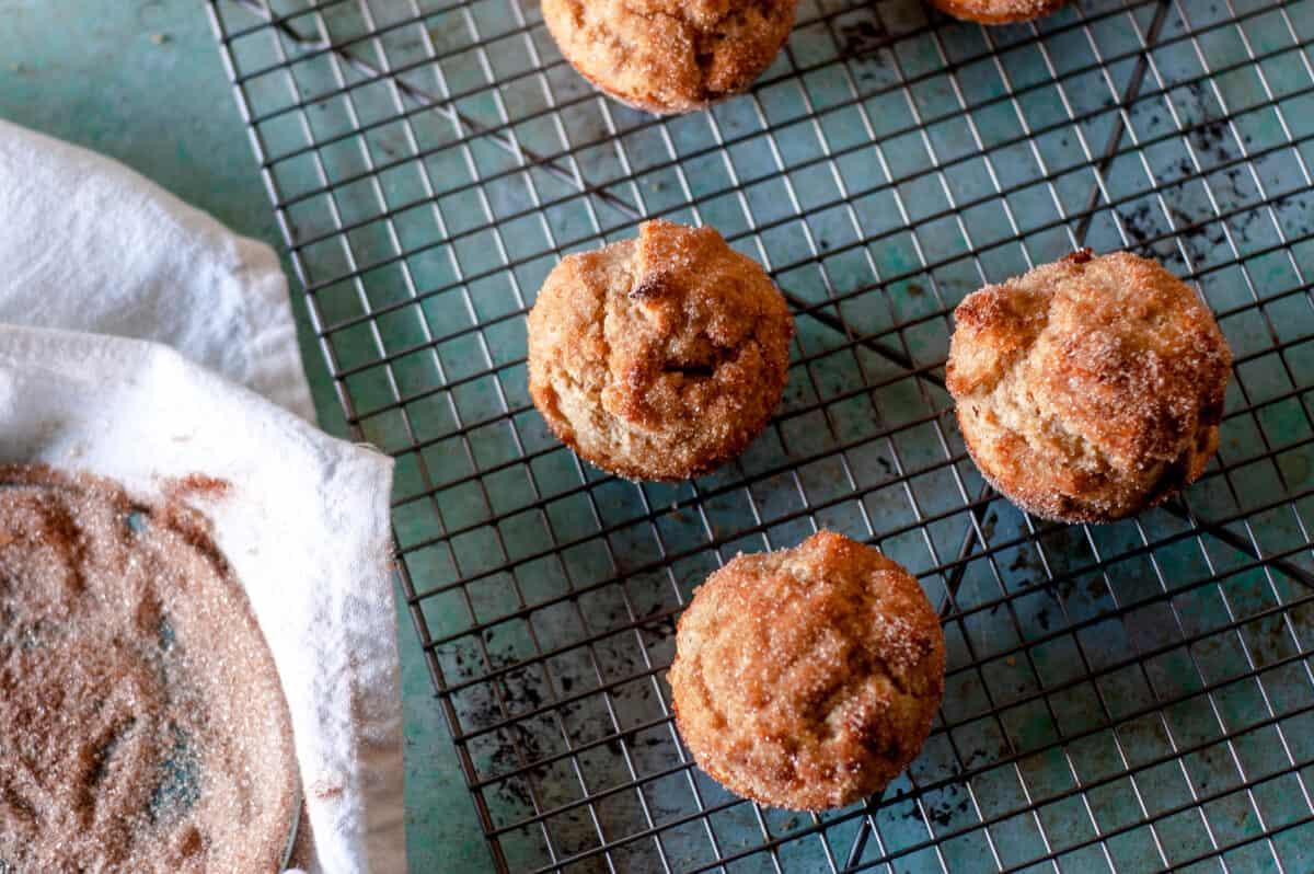 Cinnamon Sugar Oat Muffins on a cooling rack