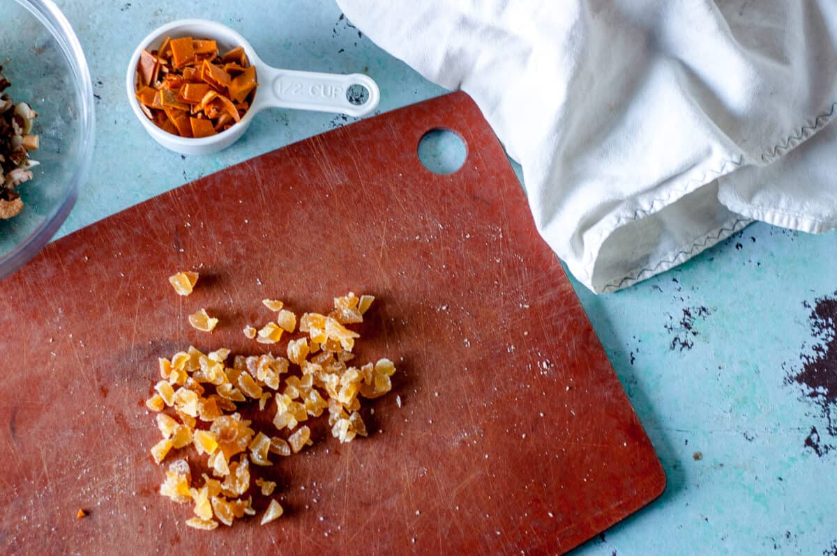 Crystallized ginger on a cutting board