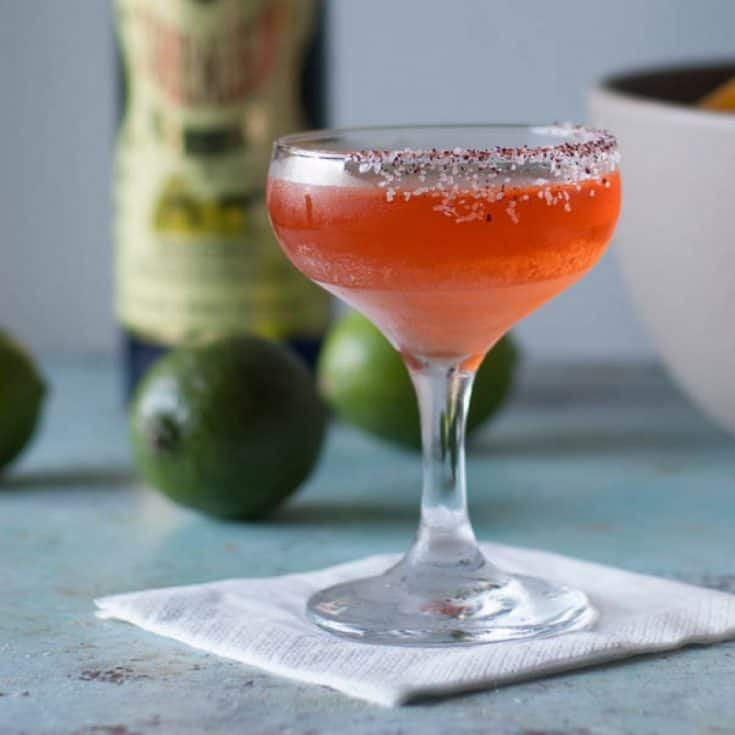 Aperol and Elderflower Margarita. A twist on the traditional margarita cocktail with reposado tequila, bright pink Aperol, elderflower liqueur, and lime.