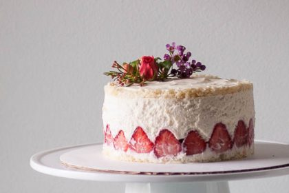 Strawberry Fraisier with Lillet Chiffon Cake and Vanilla Bean Pastry Cream. A dessert for strawberry season. From Blossom to Stem | Because Delicious | www.blossomtostem.net