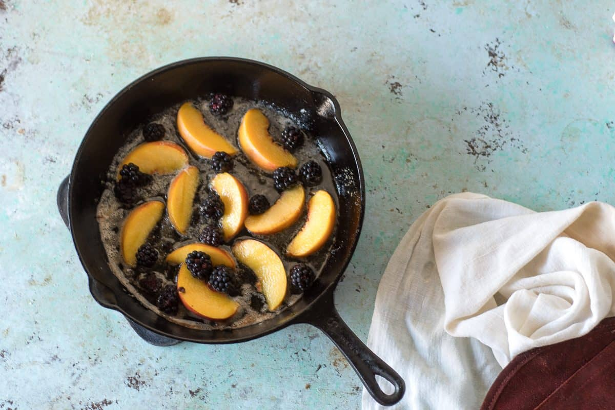 Blackberries and Peaches in a cast iron pan
