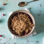 Raspberry Plum Crisp with Walnuts and Cardamom. From Blossom to Stem | Because Delicious | www.blossomtostem.net