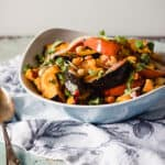Chile-lime squash and chickpea salad in a blue bowl
