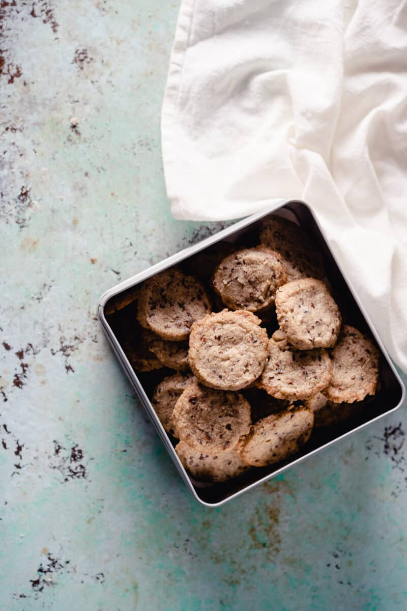 Nibby Buckwheat Cookies in a tin