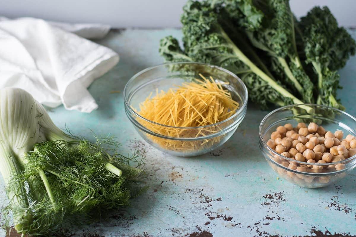 Fennel, pasta, kale, chickpeas