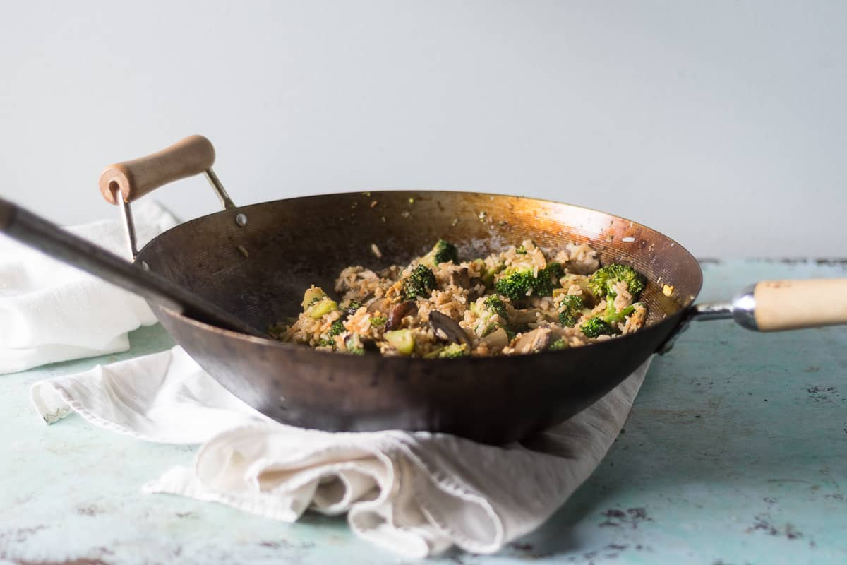 Kimchi Fried Rice with Broccoli and Mushrooms