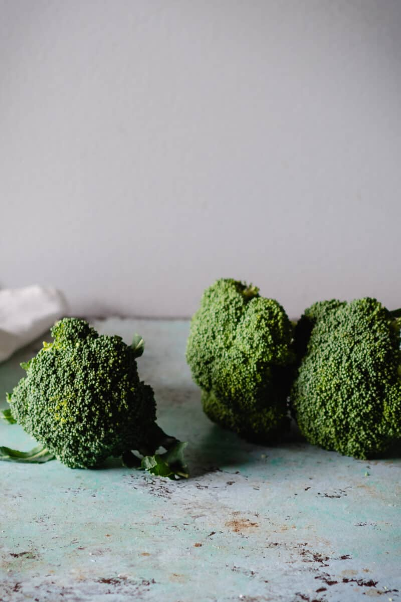 Broccoli stalks on a counter