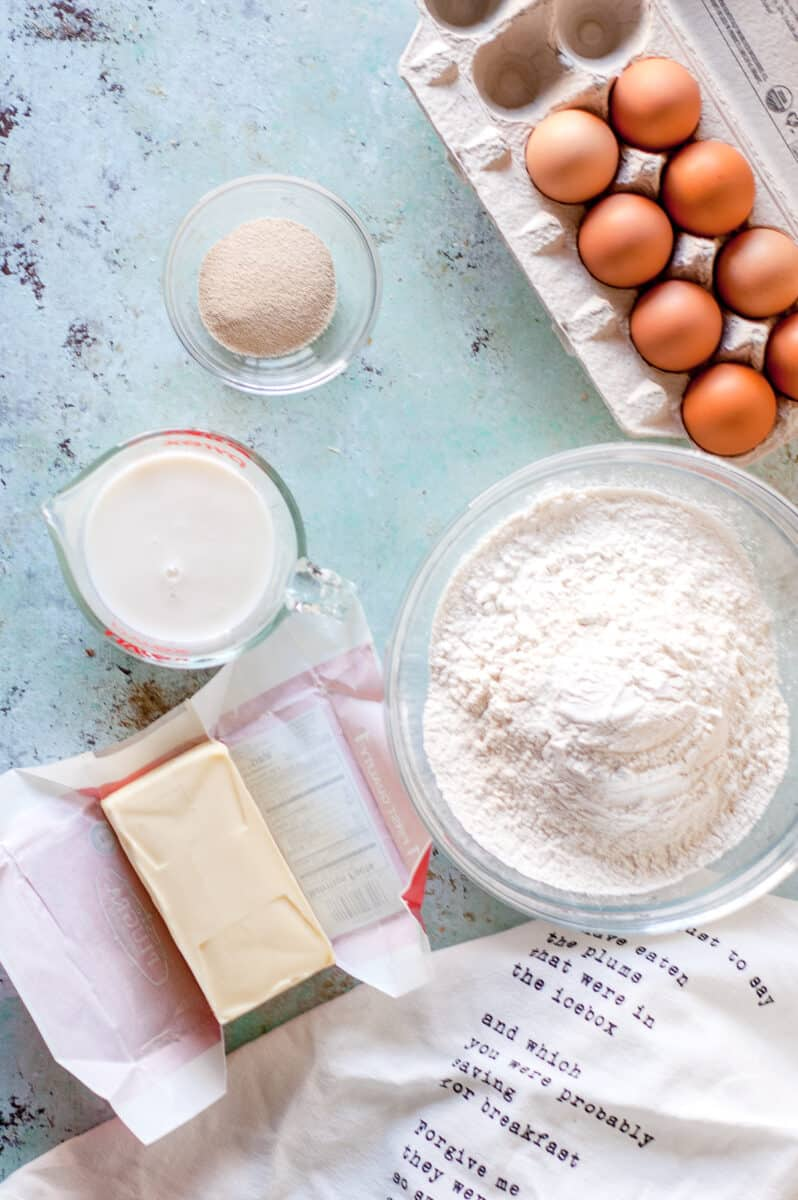 Flour, butter, milk, yeast, and eggs