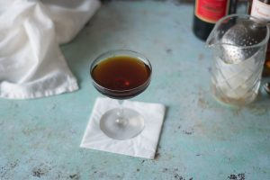 The Popinjay, a cocktail with Cynar, Cognac, and Punt e Mes. From Blossom to Stem | www.blossomtostem.net