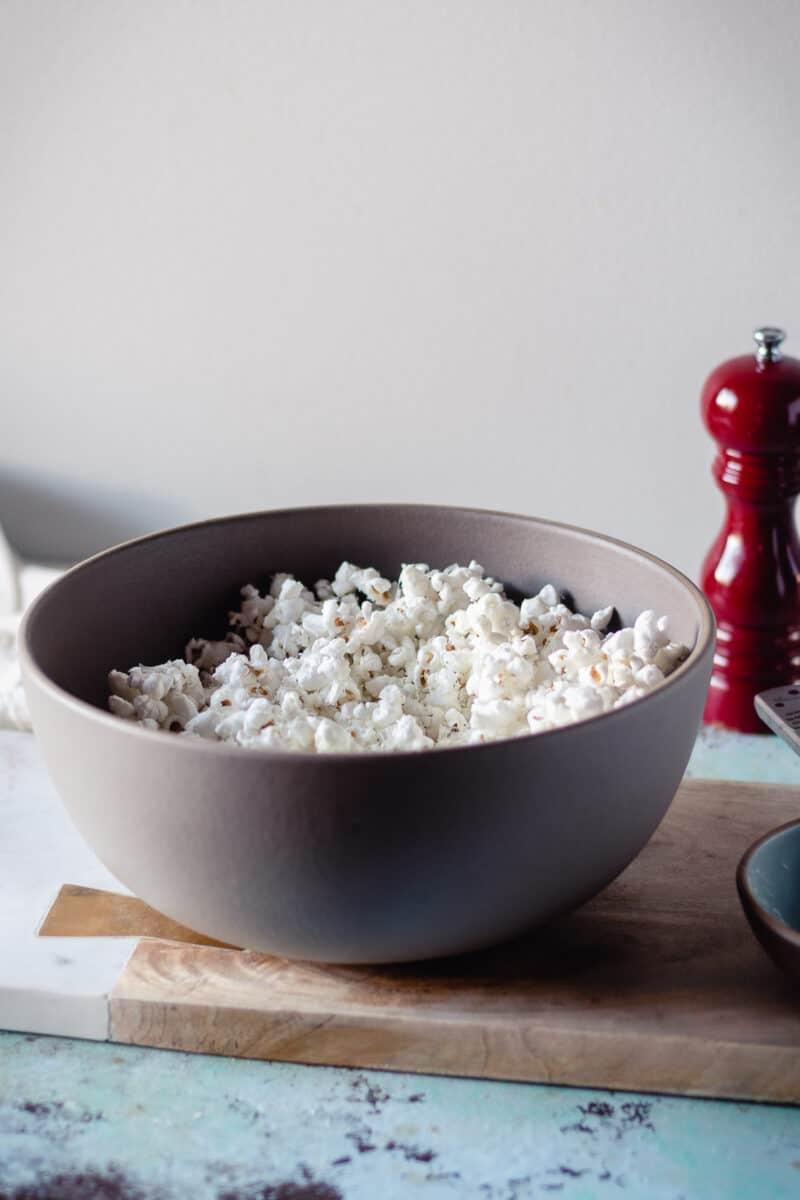 Cacio e Pepe Popcorn in a big beige bowl