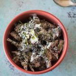 Charred Broccoli with Harissa Yogurt Sauce and Nigella Seeds. From Blossom to Stem | www.blossomtostem.net