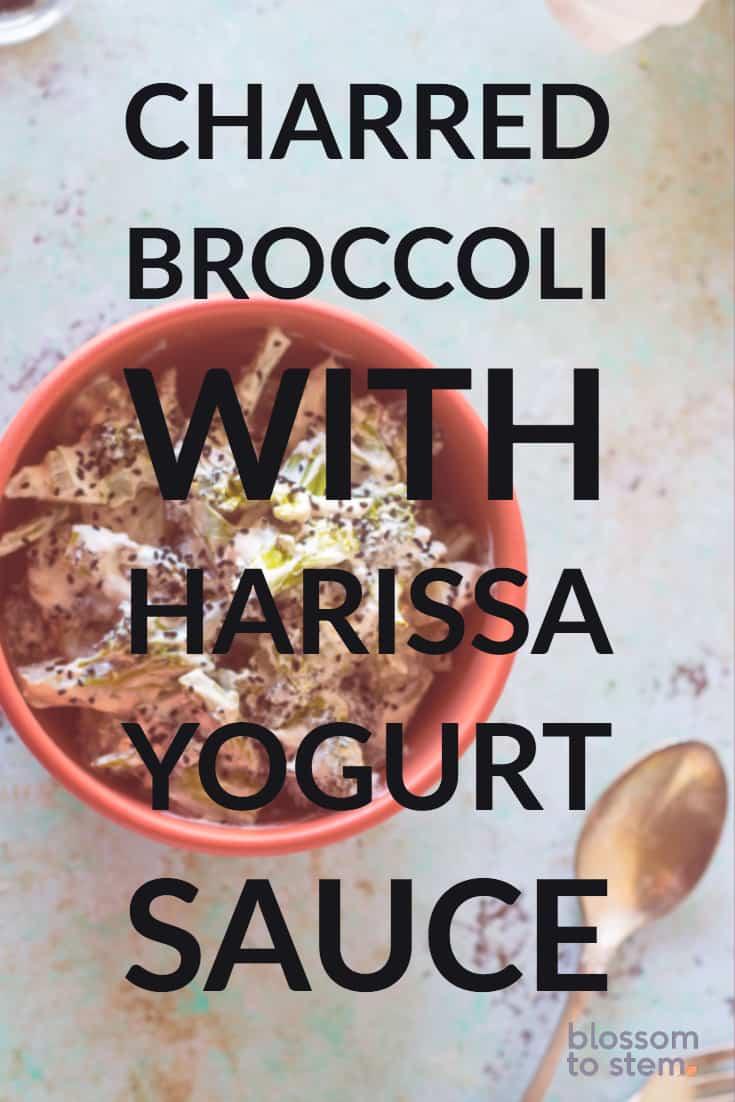 Charred Broccoli with Harissa Yogurt Sauce