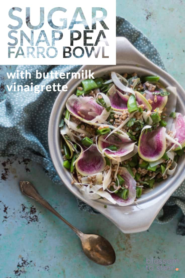 Sugar Snap Pea Farro Bowl with Buttermilk Vinaigrette