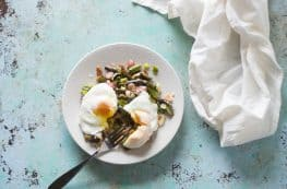 Spring Market Skillet with Asparagus, Radishes, Spring Onions and Poached Eggs. From Blossom to Stem   www.blossomtostem.net
