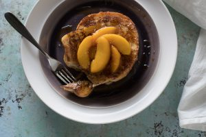 Buttermilk French Toast with Maple Glazed Peaches. From Blossom to Stem | www.blossomtostem.net