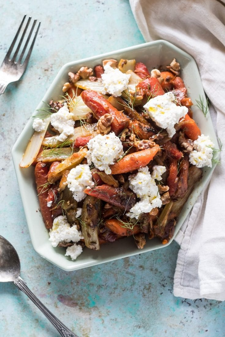 Caramelized Carrots & Fennel with Ricotta and Walnuts